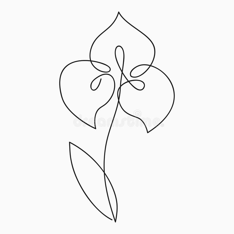 Disegno Iris one line Fiore di linea continuo Stampa a mano per logo, emblema e carta per design, poster Vettore illustrazione vettoriale