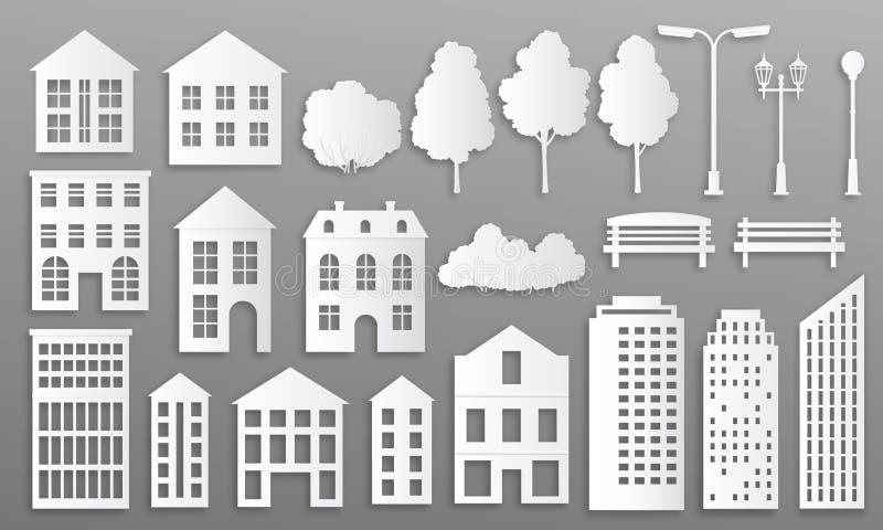Edifici a taglio carta Mani per casa, silhouette, cottage con origami bianchi, case con elementi di parco Vettore illustrazione vettoriale