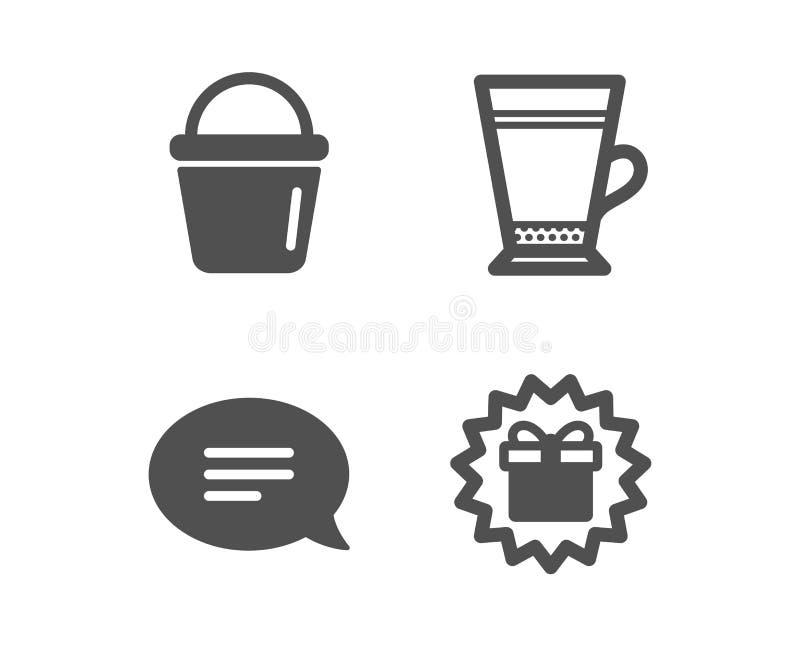 Icone Bucket, Chat e Latte Simbolo di somiglianza Apparecchiature di lavaggio, bolla vocale, bibite di caffè Vettore illustrazione vettoriale