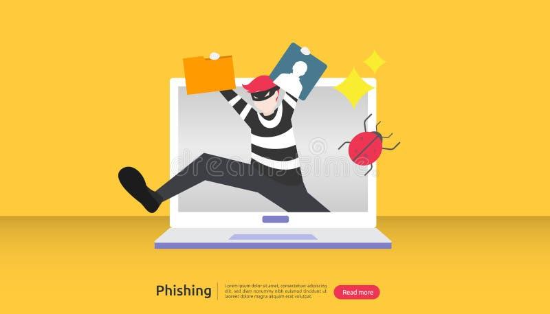 concept de sécurité internet avec de minuscules personnages attaque par hameçonnage par mot de passe vol de données personnelles  illustration de vecteur