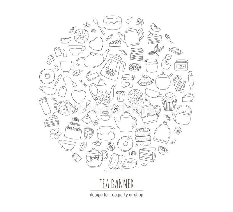 Illustration vectorielle de théières, tartes, bonbons, gâteaux encadrés en cercle Kit thé art Line Thé Cadre illustration libre de droits