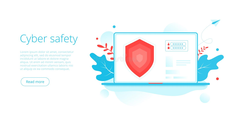 Cyberveiligheid of beveiliging van persoonlijke gegevens in creatieve platte vectorillustratie Online computer- of mobiele beveil royalty-vrije illustratie
