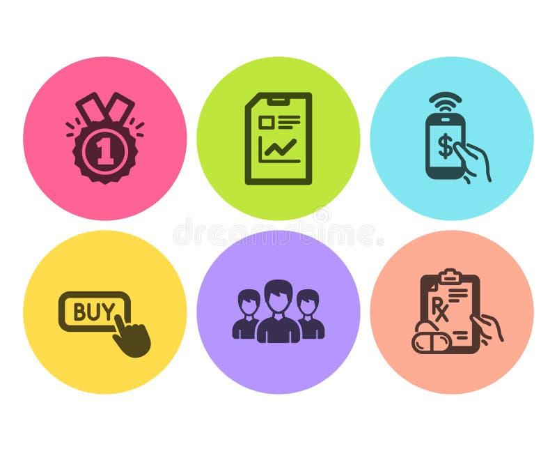 Zatwierdzono, ustawiono ikony płatności telefonicznej i przycisku Kup Podpisy dokumentów, grup i leków na receptę Wektor ilustracji