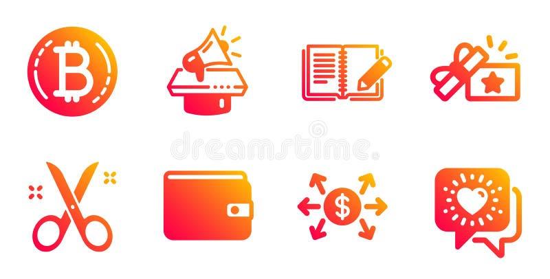 Opinie, ustawiono ikony Nożyczki i Megaphone Portfel pieniężny, prezent lojalnościowy i znaki Bitcoina Wektor ilustracji
