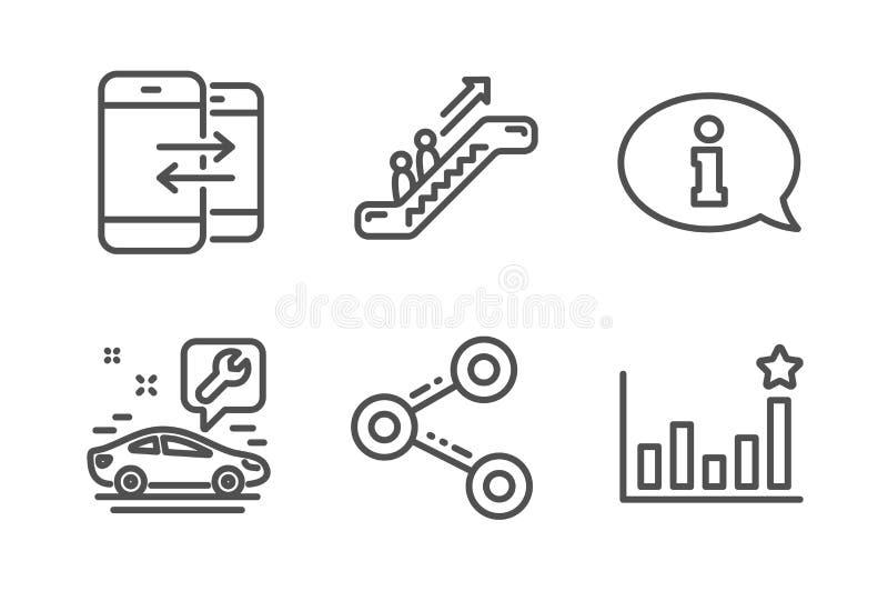 Ustawiono ikony eskalatora, komunikacji telefonicznej i usługi samochodowej Informacje, podział i skuteczność Wektor ilustracja wektor