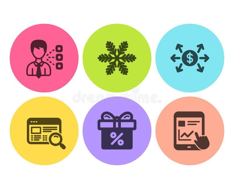 Ustawiono ikony oferty rabatu, wymiany dolara i płatka śniegu Wyszukiwanie w witrynie internetowej, podpisy raportów firm trzecic ilustracji