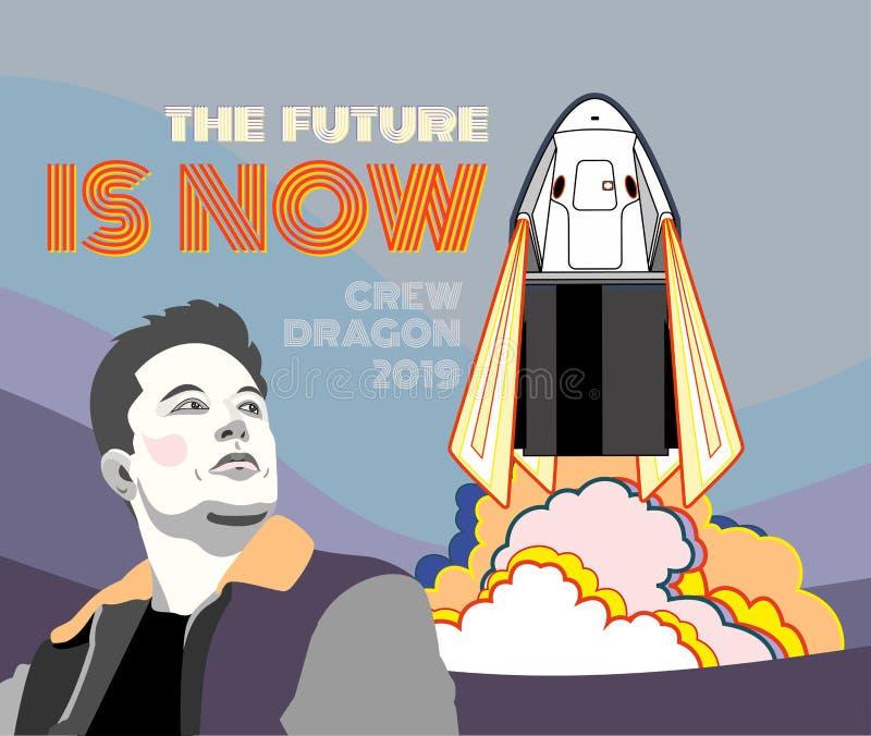 E r Wektorowy plakatowy statek kosmiczny, Elon piżmo, płomień, kontrpary różowy błękitny tło royalty ilustracja