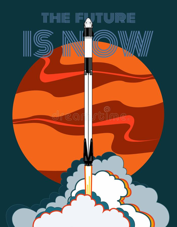E r Wektorowy plakatowy statek kosmiczny, Mars, płomień i kontrpara na błękitnym tle, ilustracja wektor