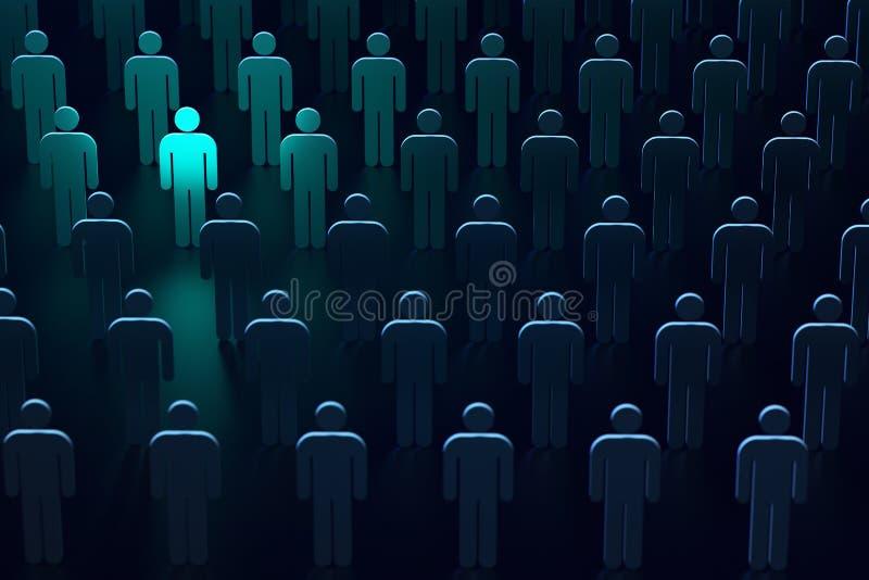 Hellblaue Silhouette einer Person als Symbol für Freiheit und Schutz Die führende Position bei sicheren Technologien 3D-Darstellu stockbild
