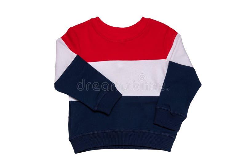 Frühjahr- und Herbstkleidung Ein roter, weißer, gestreifter, gemütlicher Pullover oder ein gemütlicher Pullover, der auf weißem H stockbilder