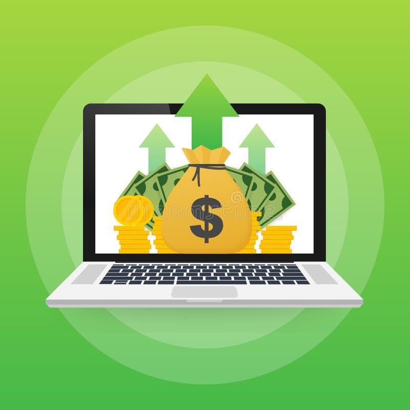 Koncepcja zarządzania lub zwrotu z inwestycji firma online strategiczna dla analizy finansowej Ilustracja wektorowa ilustracja wektor