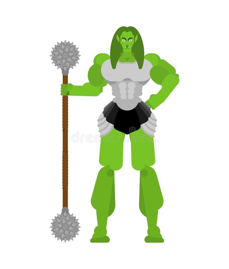 Ogre Vrouwenkrijger met wapen Groene goblin Strong berserk lady Troll vector illustratie