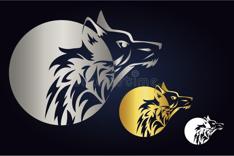 Varghuvudkontur med cirkeln i guld-, silver och vita färger Sidosikt av det lösa djuret och rund form Wolf Logo stock illustrationer