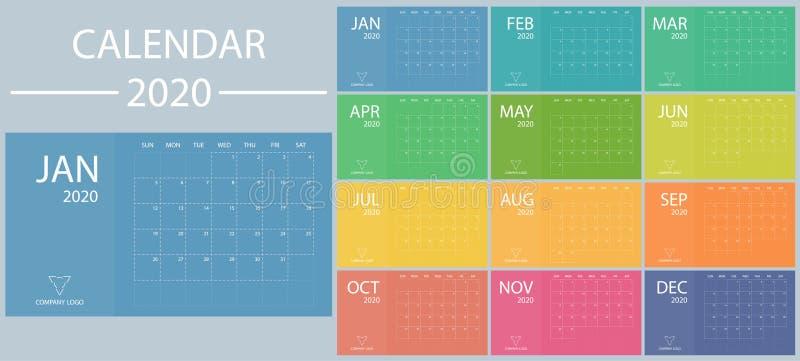 Kalender 2020 mit Woche beginnt am Sonntag Minimaler Planer-Vektor-Vorlagendatum Moderner Organisator Zeitplan vektor abbildung