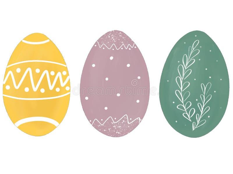 Jaja wielkanocne z pastelu, z gałęziami i kropkami Nowoczesna, prosta ilustracja, znak z kartą powitalną Zielony, żółty, różowy royalty ilustracja