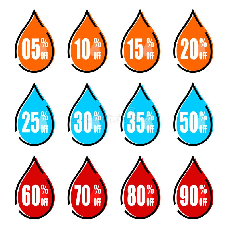 E Rabatt med det olika priset Upps?ttning av f?rs?ljningsetiketten Vatten för orientering för erbjudande för Promoetikettsrabatt stock illustrationer