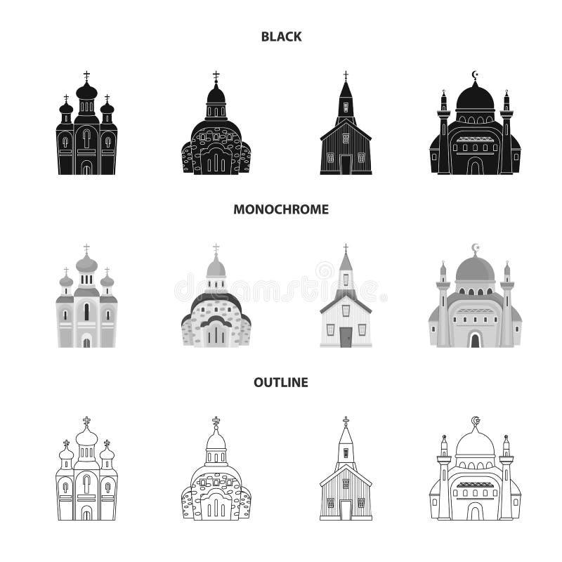 E Raccolta di culto ed icona di vettore della parrocchia per le azione illustrazione di stock