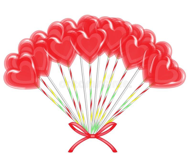 E Ramalhete de doces vermelhos dos doces na forma do coração, enfaixada com fita Um presente para o dia do Valentim s Vetor ilustração stock