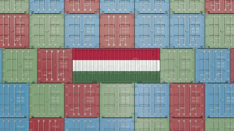 E Rappresentazione relativa ungherese 3D dell'esportazione o dell'importazione illustrazione di stock