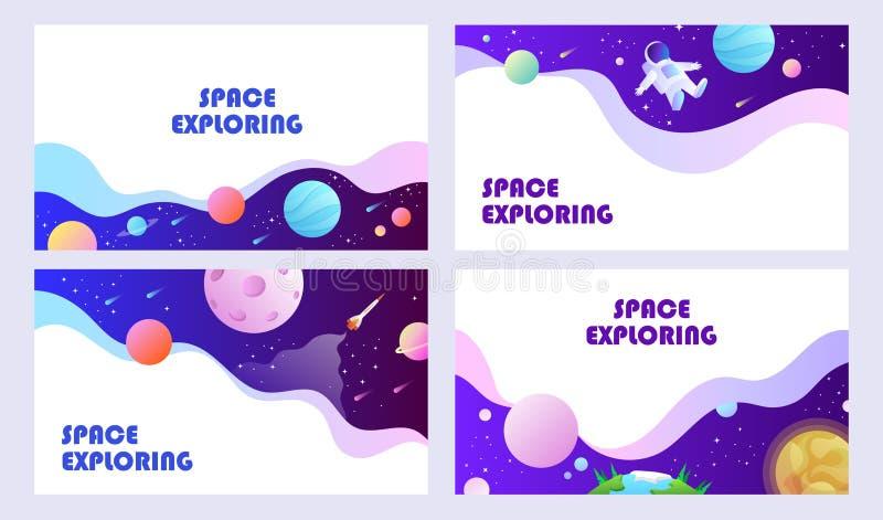E Raum erforschen F?r Gewebe Tapete, Verpackung, Hintergrund stock abbildung