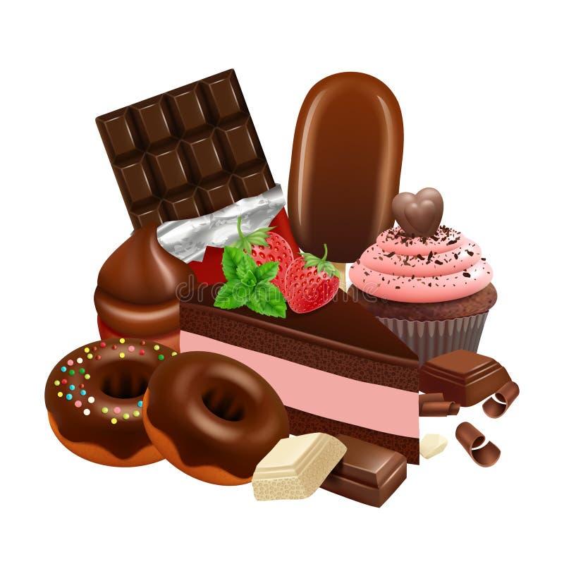 E Realistischer kleiner Kuchen, Kuchen, glasig-glänzende Schaumgummiringe, Schokoriegel-Vektorillustration stock abbildung