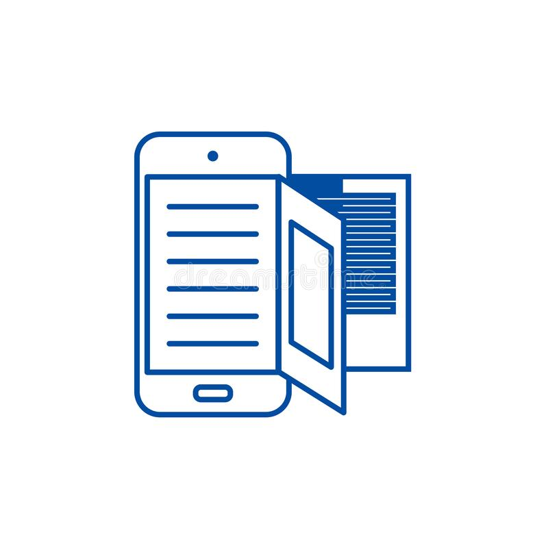 E rezerwuje, online czytanie linii ikony pojęcie E rezerwuje, online czytelniczy płaski wektorowy symbol, znak, kontur ilustracja royalty ilustracja