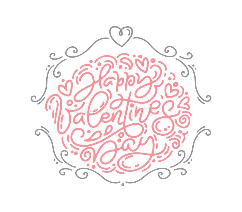 E Rotulação de Valentine Hand Drawn Cartão do projeto da garatuja do esboço do feriado com ilustração royalty free