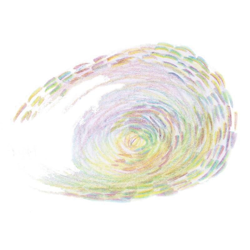 E Roze, blauwe, purpere, groene potloodillustratie met spiraal, rechte lijnen royalty-vrije illustratie