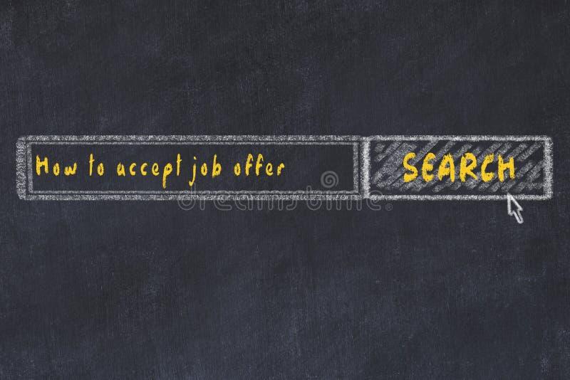 E Söka efter hur man accepterar jobberbjudande royaltyfri illustrationer