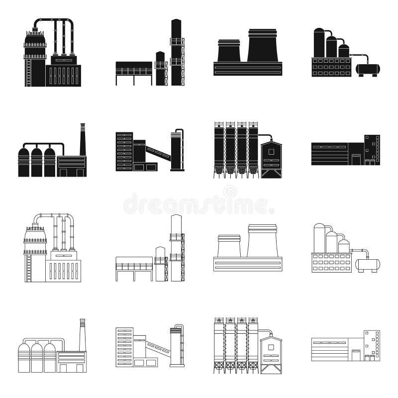 E Samling av produktion- och teknologimaterielvektorn stock illustrationer