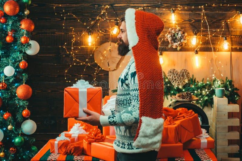 E Santa Claus souhaite le Joyeux Noël Cadeau d'an neuf Jour d'action de grâces photos libres de droits