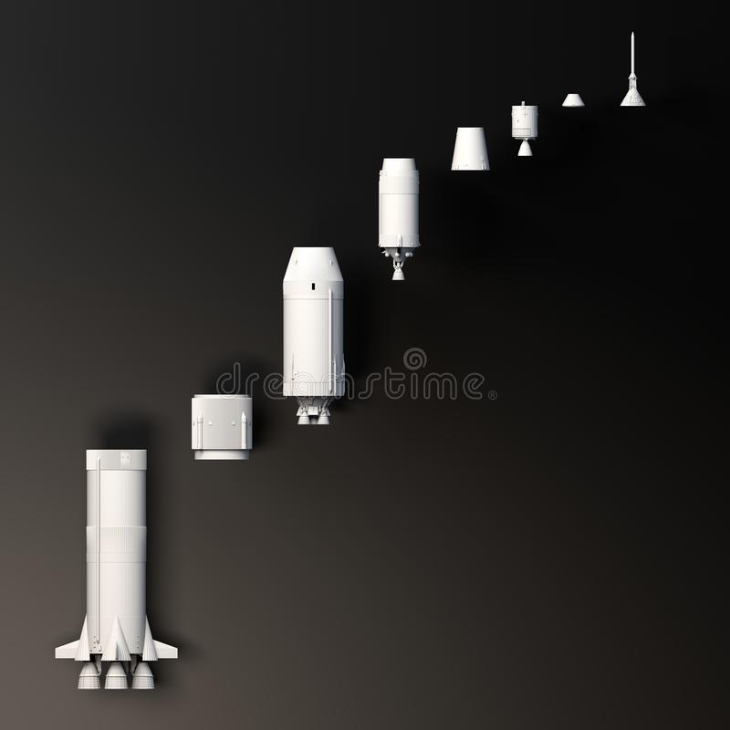 E Saturn V Rocket zum Mond r stock abbildung
