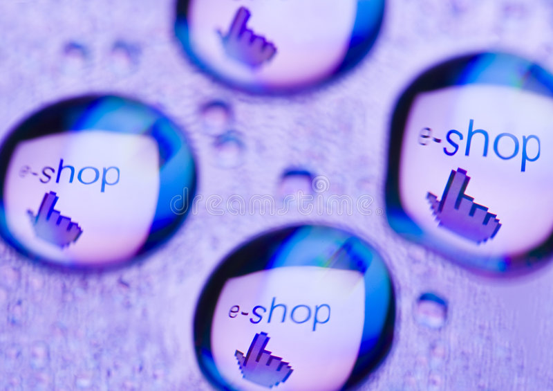 E-shop. Internet symbols are very popular and they are recognisable all over the world royalty free stock image