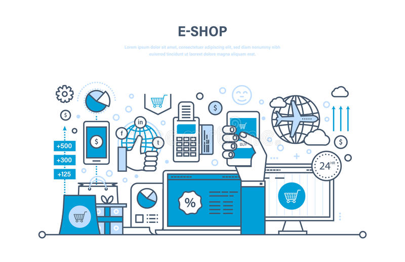 E-shop. Online ordering system of products, secure payment, technical support. E-shop concept. Online ordering system of products, secure payment, delivery stock illustration