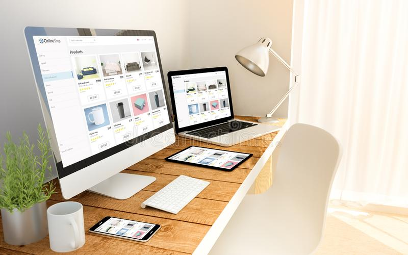 E-shop responsive concept on devices. Digital generated devices over a wooden table with e-shop responsive concept. All screen graphics are made up royalty free stock photography