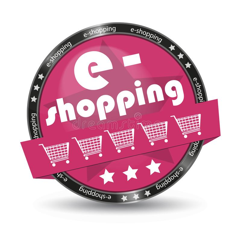 E-Shopping Cart Glossy Button - Vector Illustration - Isolated On White Background stock illustration