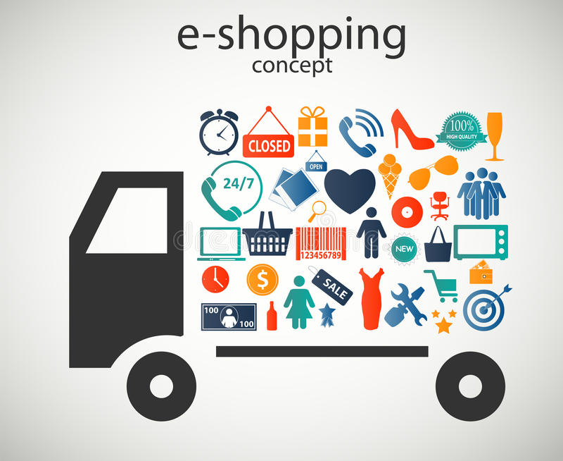 E-shopping concept icons vector illustration. This is file of EPS10 format royalty free illustration