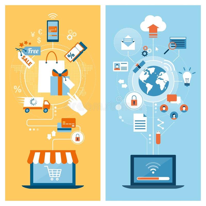 E-shopping e Internet royalty illustrazione gratis