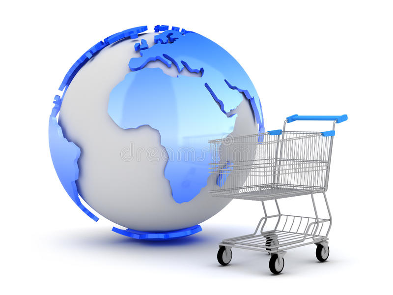 Download E-Shopping - Earth Globe And Shopping Cart Stock Image - Image: 27815871
