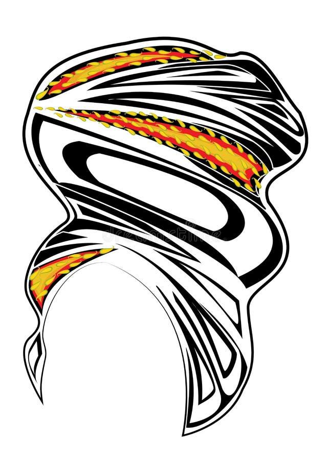 ?e?ski headpiece dla kobiety, turban Jaskrawy trykotowy czerwony szalik Krajowy elegancki i pi?kny odziewamy r?wnie? zwr?ci? core ilustracja wektor
