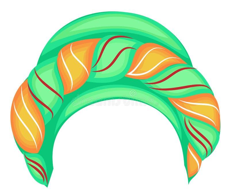?e?ski headpiece dla kobiety, turban Jaskrawy trykotowy zielony szalik Krajowy elegancki i pi?kny odziewamy r?wnie? zwr?ci? corel ilustracja wektor
