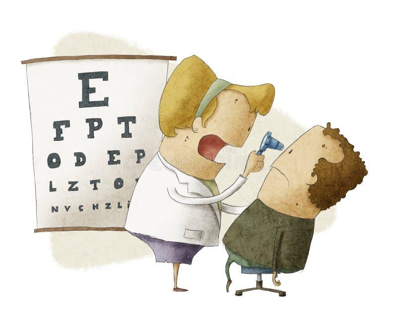Żeński oftalmolog egzamininuje pacjenta