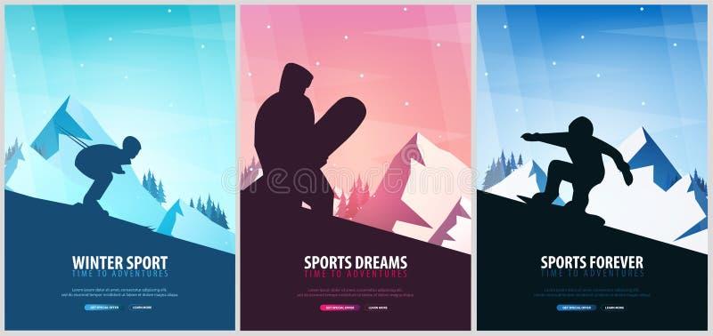 E skida snowboarden stora liggandebergberg Snowboarder i rörelse också vektor för coreldrawillustration stock illustrationer
