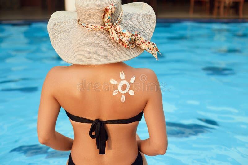 E Skincare Προστασία ήλιων σώματος suncream στοκ φωτογραφίες
