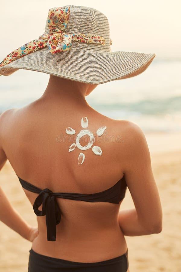 E Skincare Προστασία ήλιων σώματος suncream στοκ εικόνα