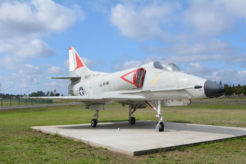 A4-E `Sky Hawk` at Municipal Airport in Albany. OR. This is a U.S. Navy A4-E `Sky Hawk` attack jet on display at the Municipal Airport in Albany, Oregon. It was royalty free stock images