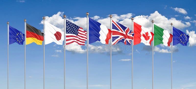 45e sommet du G7 , 24-26 août 2019 à Biarritz, Nouvelle-Aquitaine, France. 7 drapeaux des pays du Groupe des Sept - Canada, photo stock