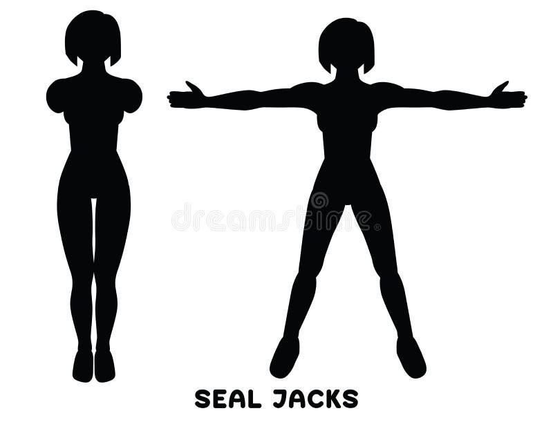E Sport exersice Schattenbilder der Frau Übung tuend Training, bildend aus lizenzfreie abbildung