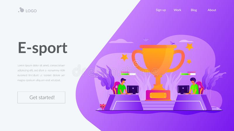 E-sport landing page template. Professional gamers competition. Video game online tournament, electronic entertainment. E-sport, cybersport market, competitive stock illustration
