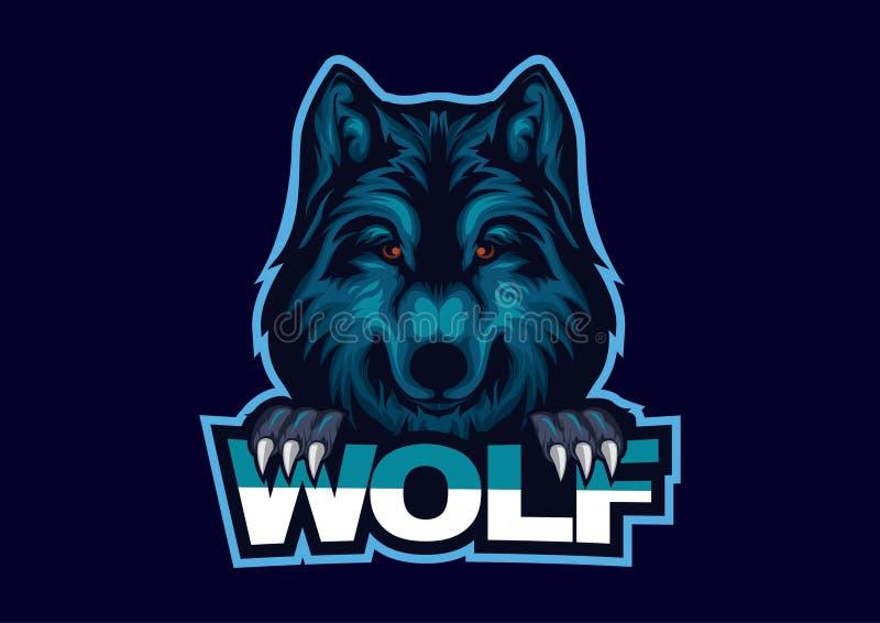 E-sporten embleem met het basisthema van wolven Het embleemmalplaatje van wolfs hoofdesport vector illustratie